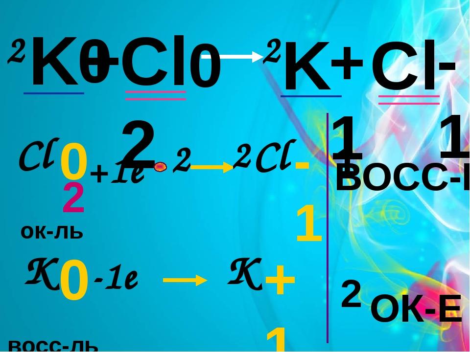 K + Cl2 K Cl 0 0 +1 -1 2 2 +1e -1e 2 восс-ль ок-ль 0 Cl 2 -1 Cl 0 K +1 K 2 ОК...