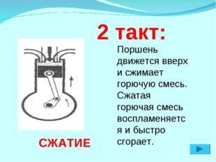 2 такт: СЖАТИЕ Поршень движется вверх и сжимает горючую смесь. Сжатая горюча