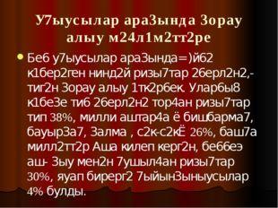 У7ыусылар ара3ында 3орау алыу м24л1м2тт2ре Бе6 у7ыусылар ара3ында= )й62 к1бер