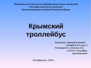 Крымский троллейбус Октябрьское, 2016г. Выполнил: Дрожжин Даниил учащийся 9-в