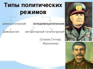 Типы политических режимов демократический антидемократические Демократия авто