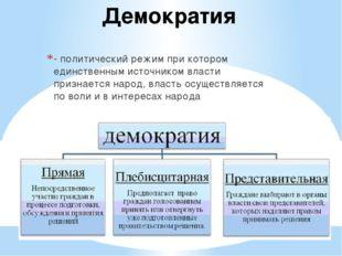 Демократия - политический режим при котором единственным источником власти пр