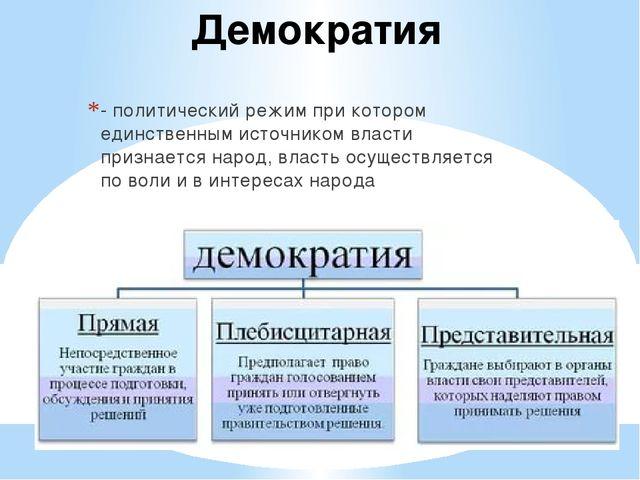 Демократия - политический режим при котором единственным источником власти пр...