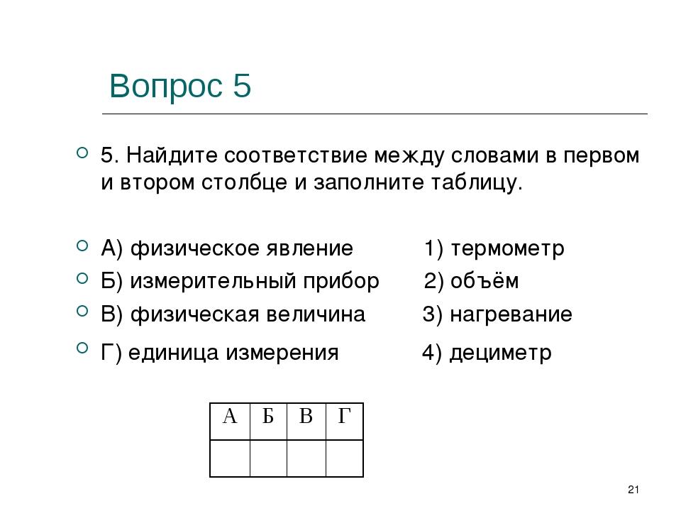 Вопрос 5 5. Найдите соответствие между словами в первом и втором столбце и за...