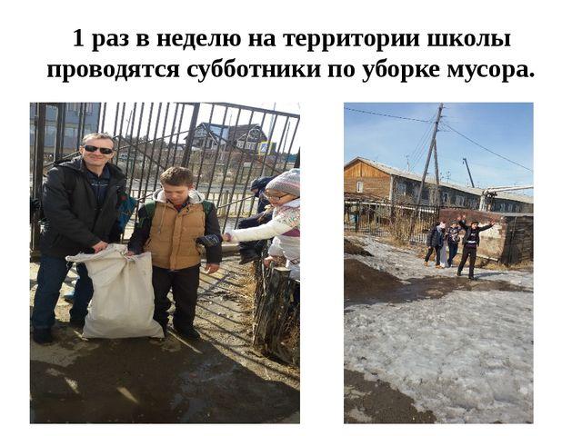 1 раз в неделю на территории школы проводятся субботники по уборке мусора.
