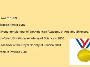 Landau Award 1989 John Bardeen Award 1991 Foreign Honorary Member of the Ame
