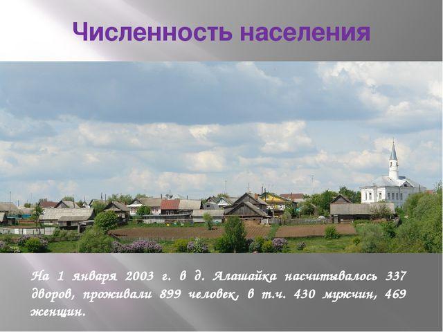 Численность населения На 1 января 2003 г. в д. Алашайка насчитывалось 337 дво...