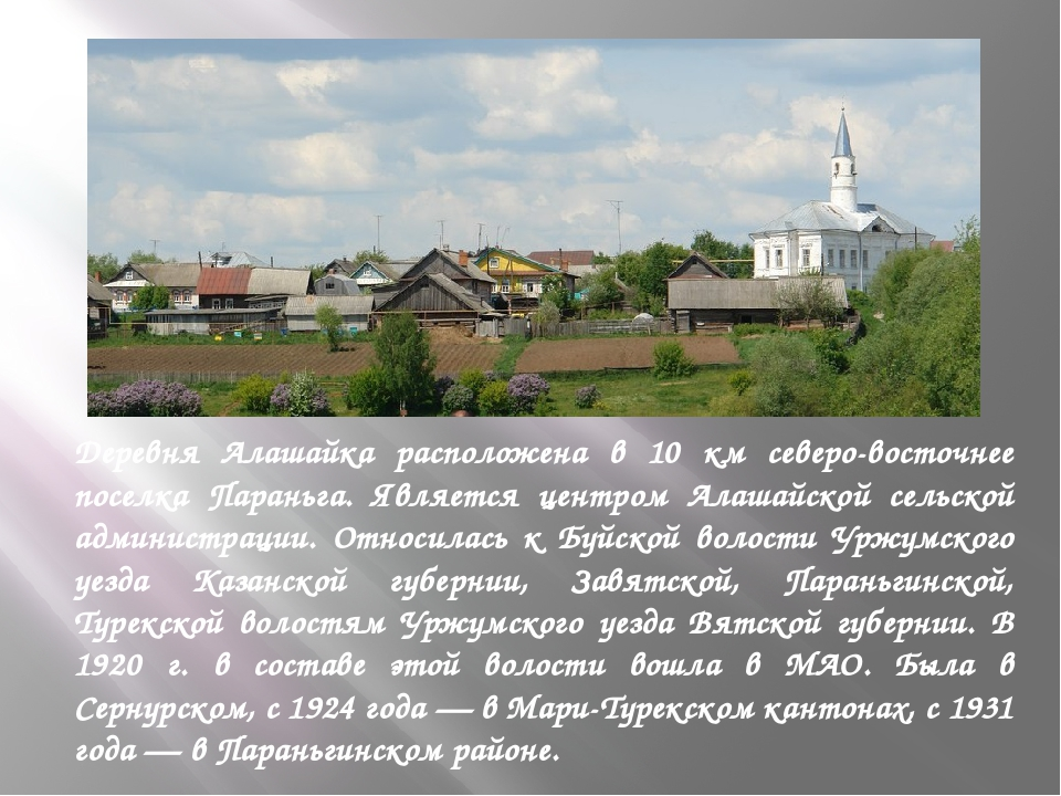 Деревня Алашайка расположена в 10 км северо-восточнее поселка Параньга. Явля...