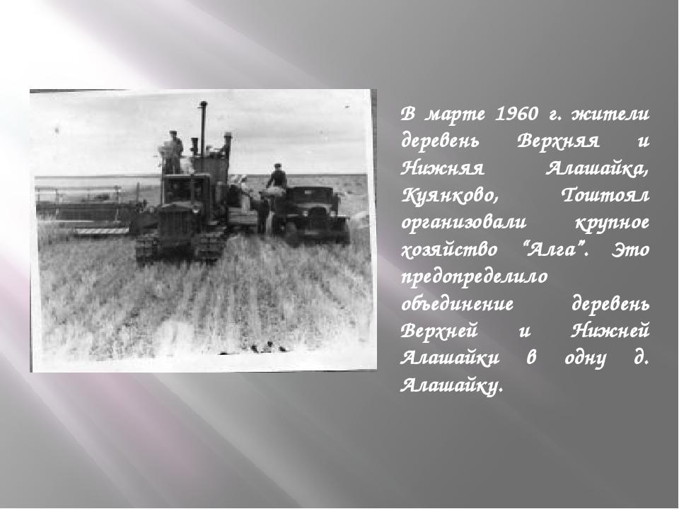 В марте 1960 г. жители деревень Верхняя и Нижняя Алашайка, Куянково, Тоштоял...
