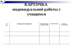 КАРТОЧКА индивидуальной работы с учащимся № п/пПланируемое мероприятиеПред