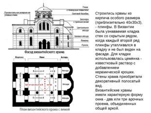 Строились храмы из кирпича особого размера (приблизительно 40x30x3), - плинфы