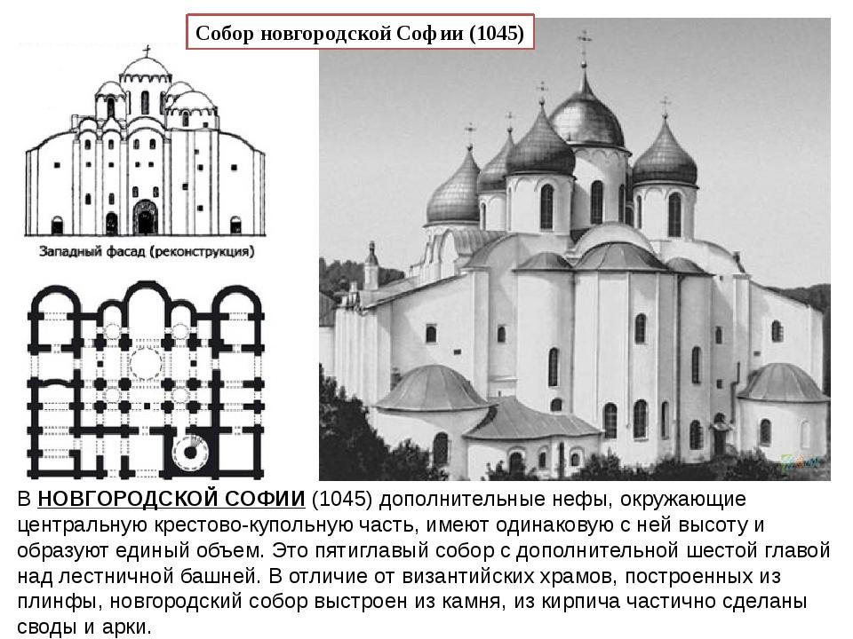 ВНОВГОРОДСКОЙ СОФИИ(1045) дополнительные нефы, окружающие центральную крест...
