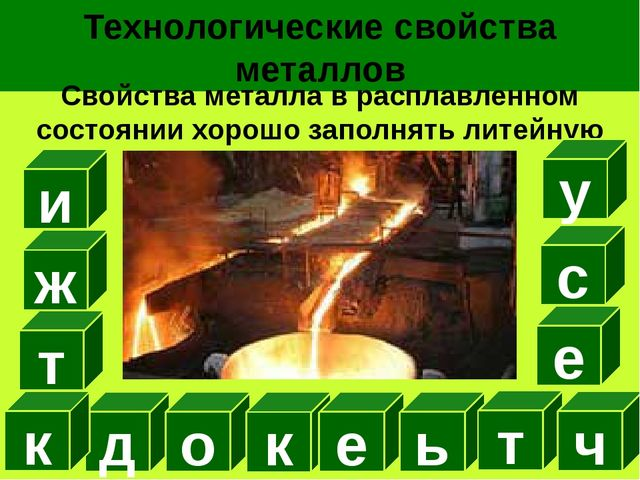 Технологические свойства металлов Свойства металла в расплавленном состоянии...