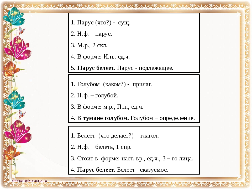 1. Парус (что?) - сущ. 2. Н.ф. – парус. 3. М.р., 2 скл. 4. В форме: И.п., ед....