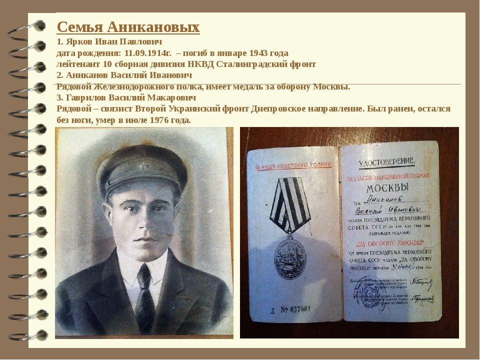 Семья Аникановых 1. Ярков Иван Павлович дата рождения: 11.09.1914г. – погиб в...