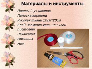 Ленты 2-ух цветов Полоска картона Кусочек ткани 10см*20см Клей: Момент-гель и