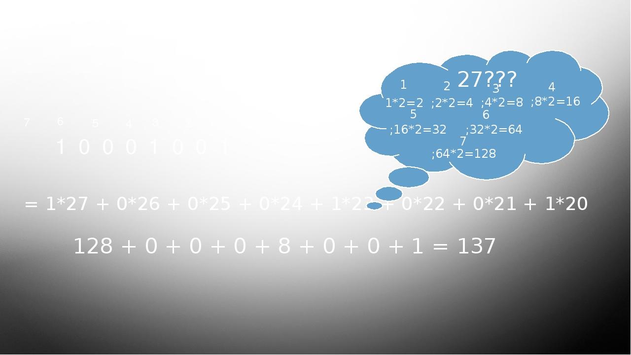 Проверка домашнего задания Ответ 1 0 0 0 1 0 0 1 0 1 2 3 4 5 6 7 = 1*27+ 0*2...