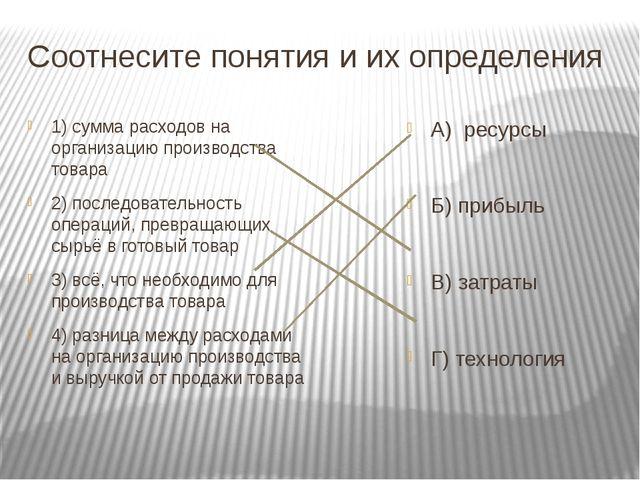 Соотнесите понятия и их определения 1) сумма расходов на организацию производ...