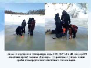 На месте определили температуру воды (+0,1-0,2°С,) и рН среду (рН 9 -щелочна
