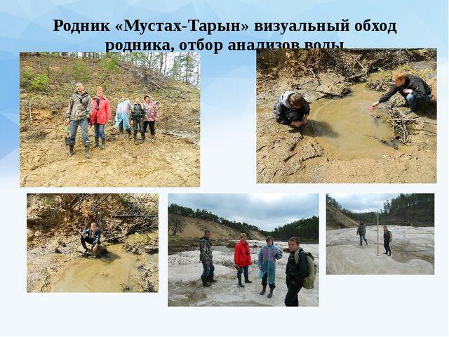 Родник «Мустах-Тарын» визуальный обход родника, отбор анализов воды