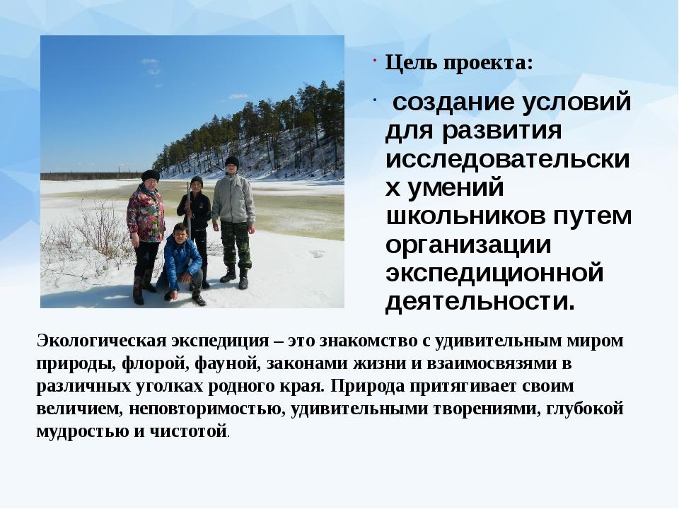 Цель проекта: создание условий для развития исследовательских умений школьник...