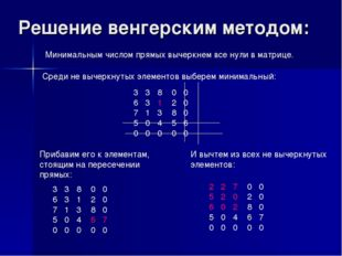 Решение венгерским методом: 3 3 8 0 0 6 3 1 2 0 7 1 3 8 0 5 0 4 5 6 0 0 0 0 0
