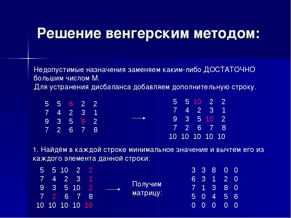 Решение венгерским методом: 5 5 10 2 2 7 4 2 3 1 9 3 5 10 2 7 2 6 7 8 10 10 1...