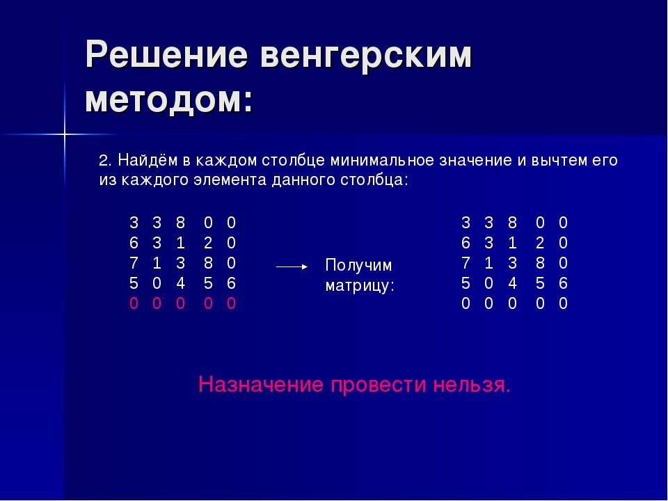 Решение венгерским методом: 2. Найдём в каждом столбце минимальное значение и...