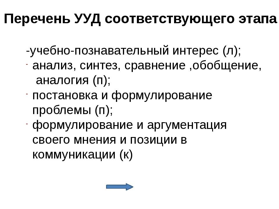 Перечень УУД соответствующего этапа -постановка познавательной цели (п); -пла...