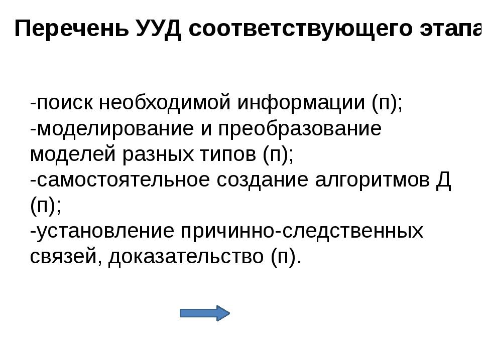 Перечень УУД соответствующего этапа -внутренняя позиция школьника (л); -самоо...