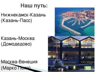 Нижнекамск-Казань (Казань-Пасс) Казань-Москва (Домодедово) Москва-Венеция (Ма