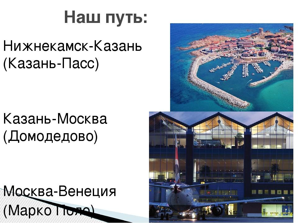 Нижнекамск-Казань (Казань-Пасс) Казань-Москва (Домодедово) Москва-Венеция (Ма...