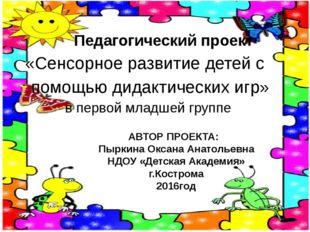 Педагогический проект «Сенсорное развитие детей с помощью дидактических игр»