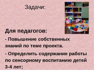 Задачи: Для педагогов: - Повышение собственных знаний по теме проекта. - Опре