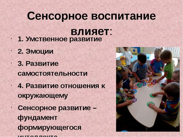 Сенсорное воспитание влияет: 1. Умственное развитие 2. Эмоции 3. Развитие сам...