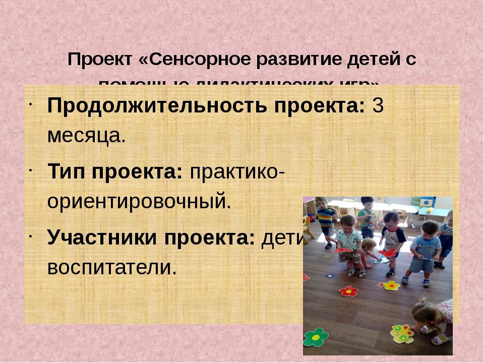 Проект «Сенсорное развитие детей с помощью дидактических игр». Продолжительн...