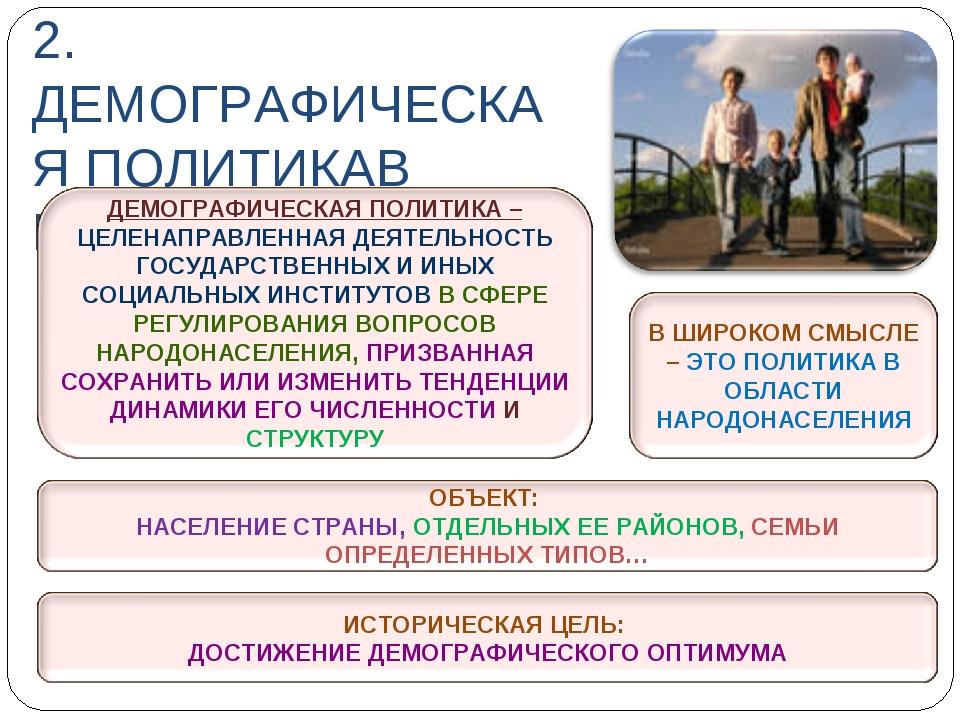 2. ДЕМОГРАФИЧЕСКАЯ ПОЛИТИКАВ РОССИИ