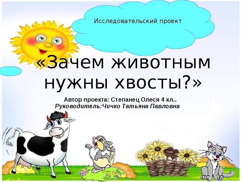 «Зачем животным нужны хвосты?» Исследовательский проект Автор проекта: Степан...