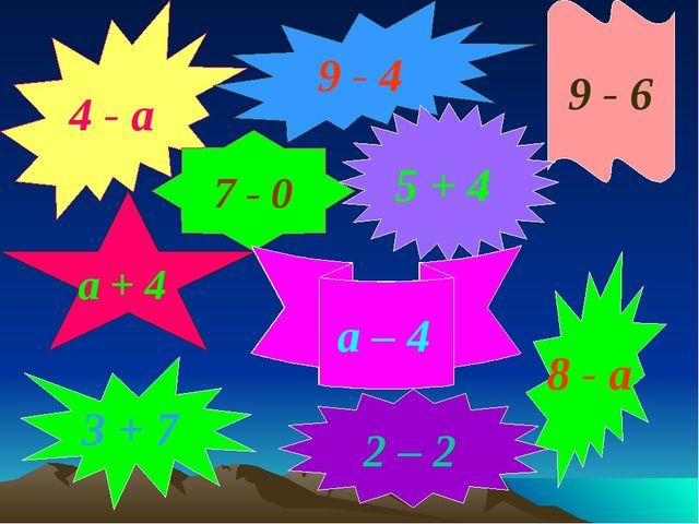 4 - а 9 - 4 7 - 0 а + 4 9 - 6 5 + 4 а – 4 8 - а 3 + 7 2 – 2 а – 4