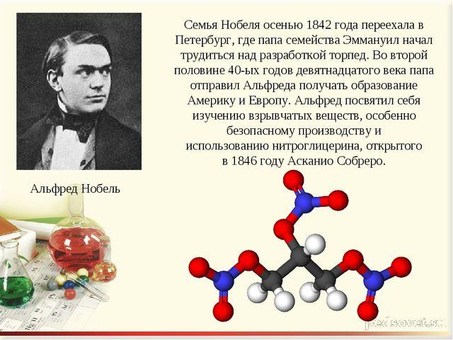 Семья Нобеля осенью 1842 года переехала в Петербург, где папа семейства Эмман...