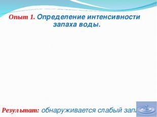 Опыт 1. Определение интенсивности запаха воды. Результат: обнаруживается сла