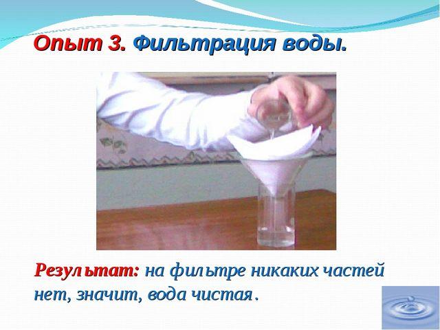Опыт 3. Фильтрация воды. Результат: на фильтре никаких частей нет, значит, во...