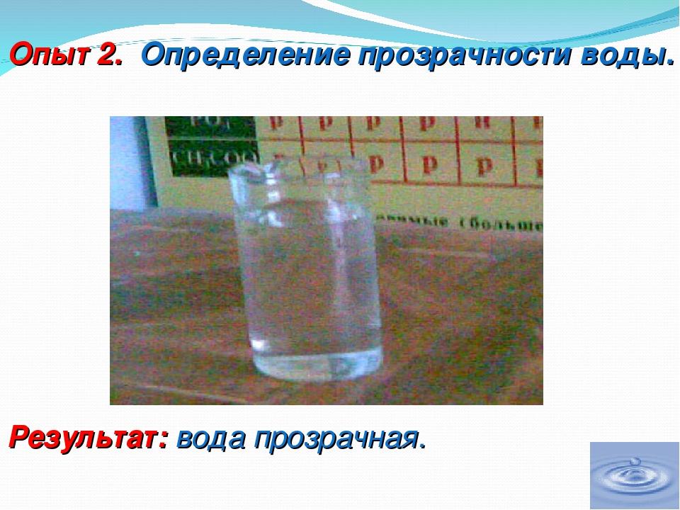 Опыт 2. Определение прозрачности воды. Результат: вода прозрачная.