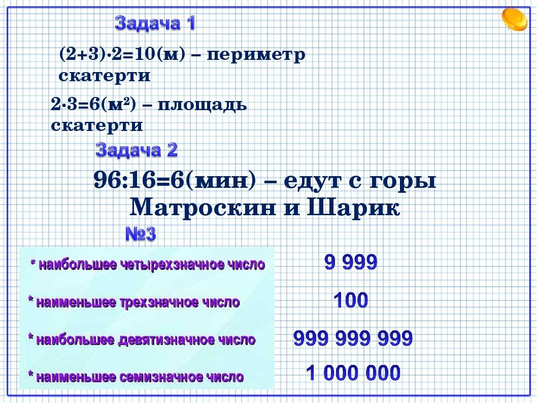 96:16=6(мин) – едут с горы Матроскин и Шарик (2+3)∙2=10(м) – периметр скатерт...