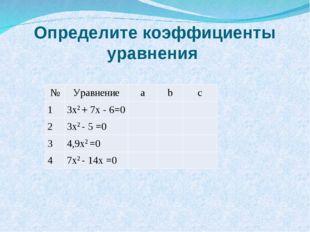 Определите коэффициенты уравнения №Уравнениеabc 13x2 + 7x - 6=0 2