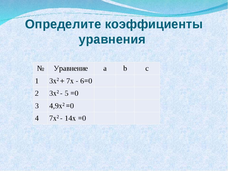 Определите коэффициенты уравнения №Уравнениеabc 13x2 + 7x - 6=0 2...