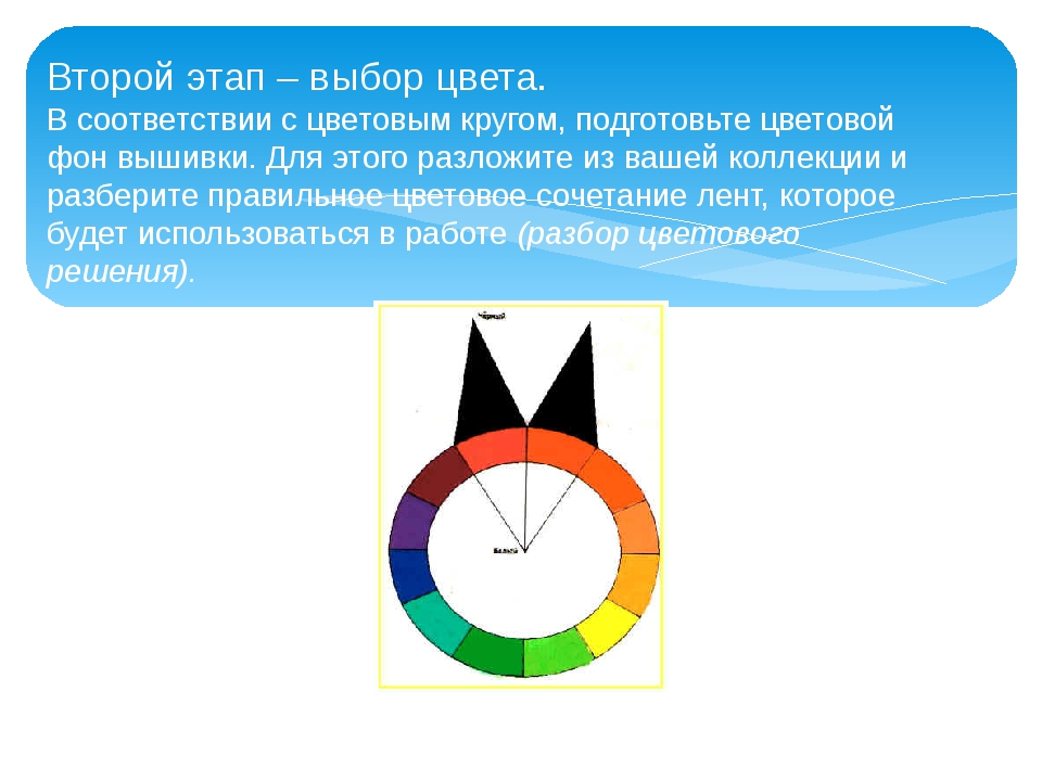 Второй этап – выбор цвета. В соответствии с цветовым кругом, подготовьте цвет...