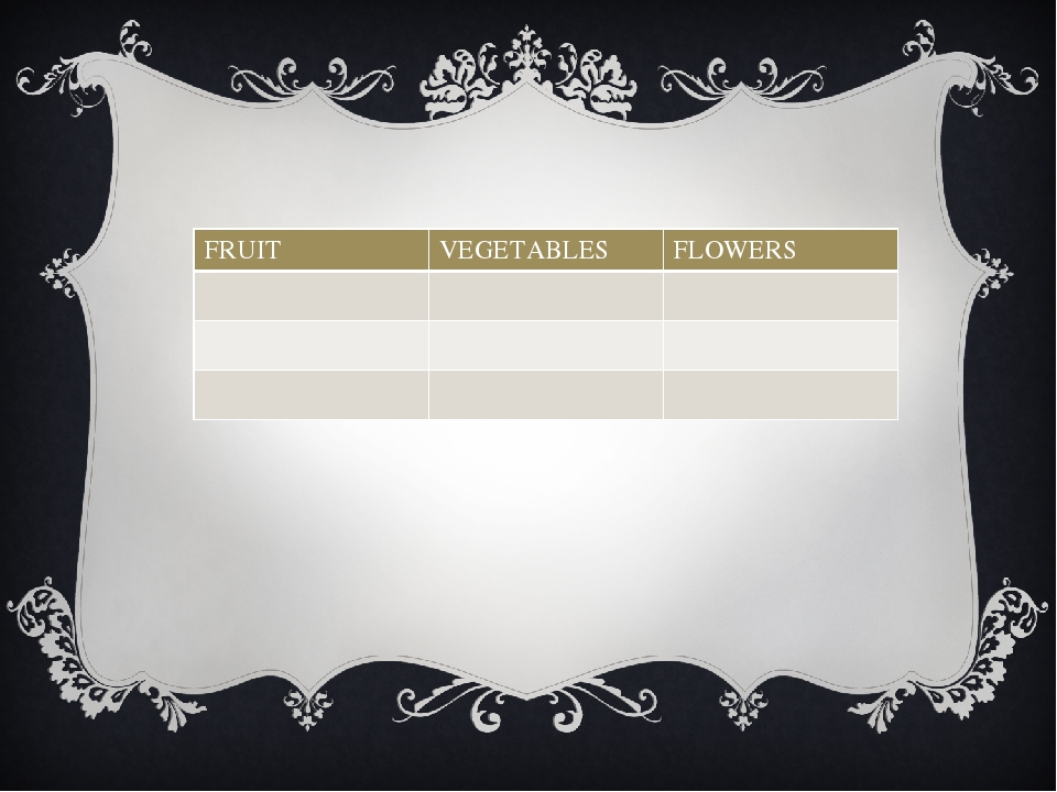 FRUIT VEGETABLES FLOWERS