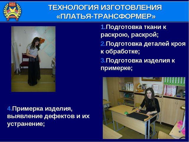 4.Примерка изделия, выявление дефектов и их устранение; 1.Подготовка ткани к...