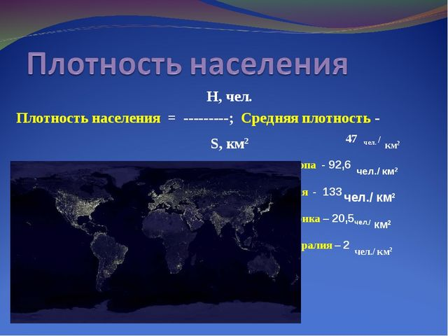 Н, чел. Плотность населения = ---------; Средняя плотность - S, км2 47 чел....
